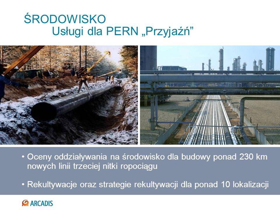 ŚRODOWISKO Usługi dla PERN Przyjaźń Oceny oddziaływania na środowisko dla budowy ponad 230 km nowych linii trzeciej nitki ropociągu Rekultywacje oraz
