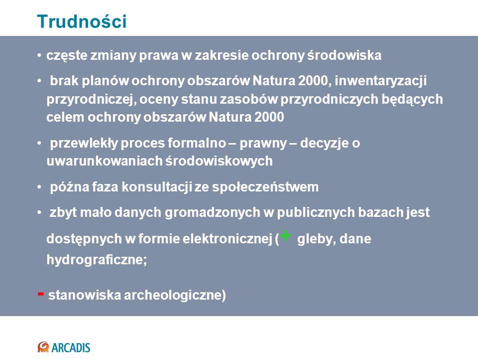 częste zmiany prawa w zakresie ochrony środowiska brak planów ochrony obszarów Natura 2000, inwentaryzacji przyrodniczej, oceny stanu zasobów przyrodn
