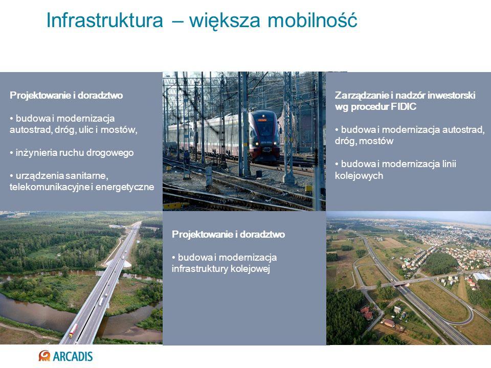 Infrastruktura – większa mobilność Projektowanie i doradztwo budowa i modernizacja infrastruktury kolejowej Projektowanie i doradztwo budowa i moderni