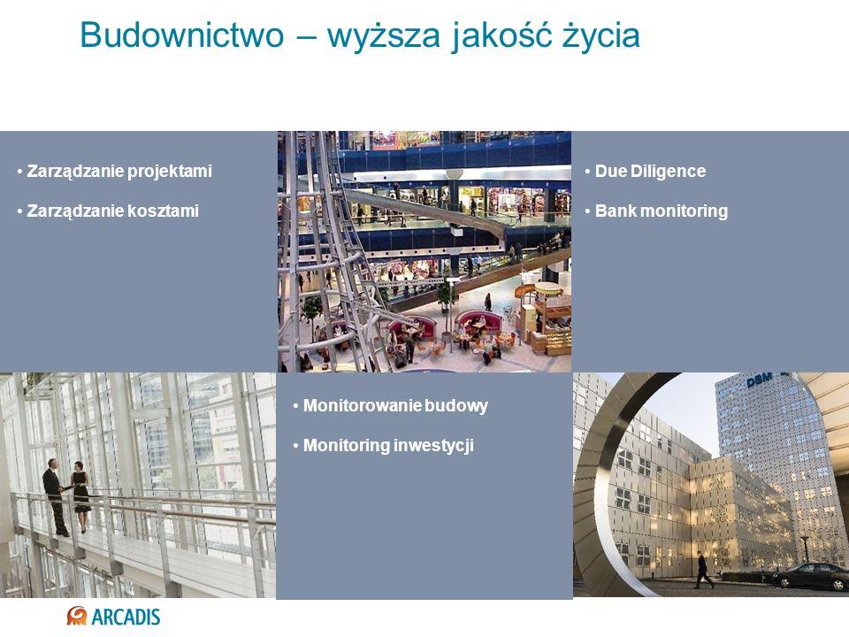 Budownictwo – wyższa jakość życia Zarządzanie projektami Zarządzanie kosztami Due Diligence Bank monitoring Monitorowanie budowy Monitoring inwestycji