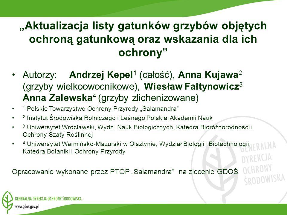 Aktualizacja listy gatunków grzybów objętych ochroną gatunkową oraz wskazania dla ich ochrony Autorzy: Andrzej Kepel 1 (całość), Anna Kujawa 2 (grzyby