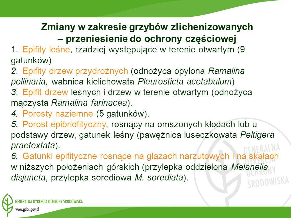 Zmiany w zakresie grzybów zlichenizowanych – przeniesienie do ochrony częściowej 1.Epifity leśne, rzadziej występujące w terenie otwartym (9 gatunków)