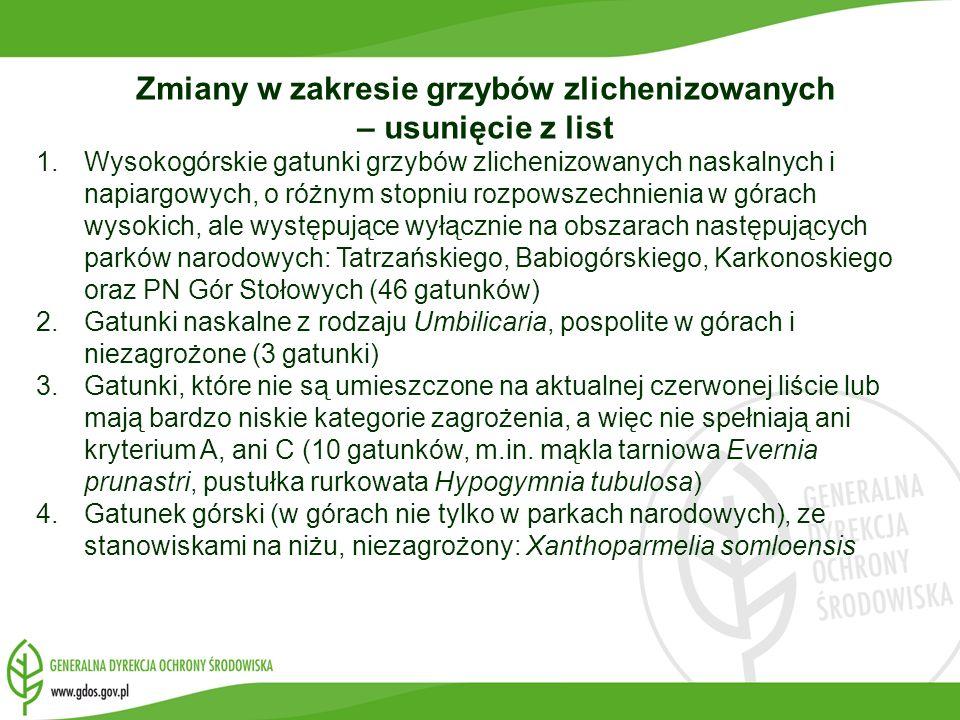 Zmiany w zakresie grzybów zlichenizowanych – usunięcie z list 1.Wysokogórskie gatunki grzybów zlichenizowanych naskalnych i napiargowych, o różnym sto