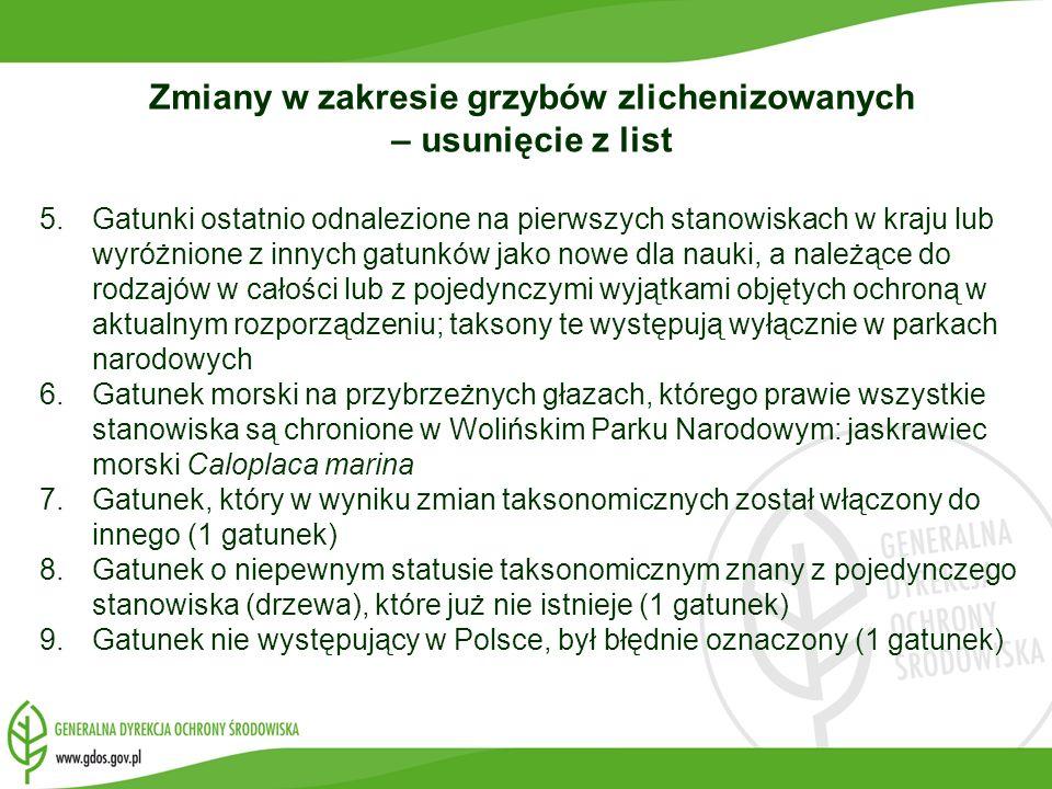 Zmiany w zakresie grzybów zlichenizowanych – usunięcie z list 5.Gatunki ostatnio odnalezione na pierwszych stanowiskach w kraju lub wyróżnione z innyc