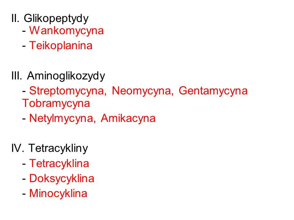 II. Glikopeptydy - Wankomycyna - Teikoplanina III. Aminoglikozydy - Streptomycyna, Neomycyna, Gentamycyna Tobramycyna - Netylmycyna, Amikacyna IV. Tet