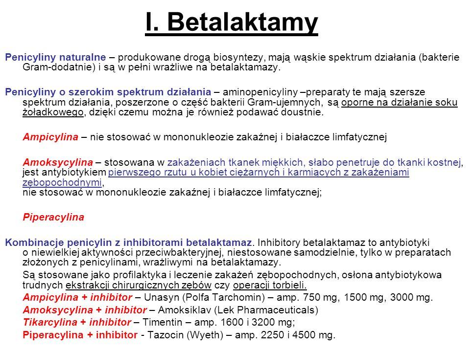 I. Betalaktamy Penicyliny naturalne – produkowane drogą biosyntezy, mają wąskie spektrum działania (bakterie Gram dodatnie) i są w pełni wrażliwe na