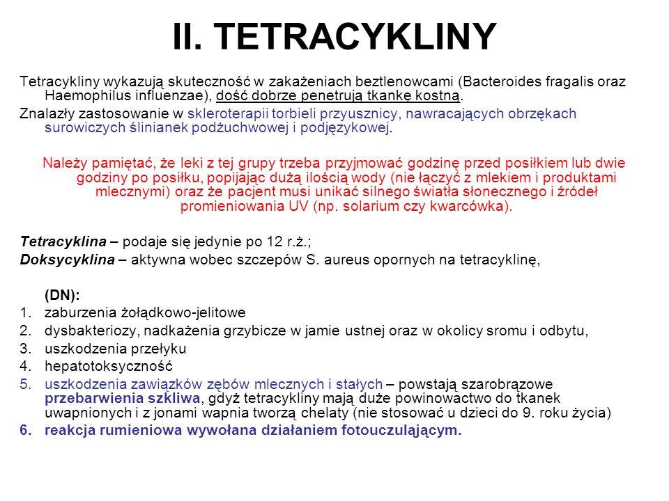 II. TETRACYKLINY Tetracykliny wykazują skuteczność w zakażeniach beztlenowcami (Bacteroides fragalis oraz Haemophilus influenzae), dość dobrze penetru