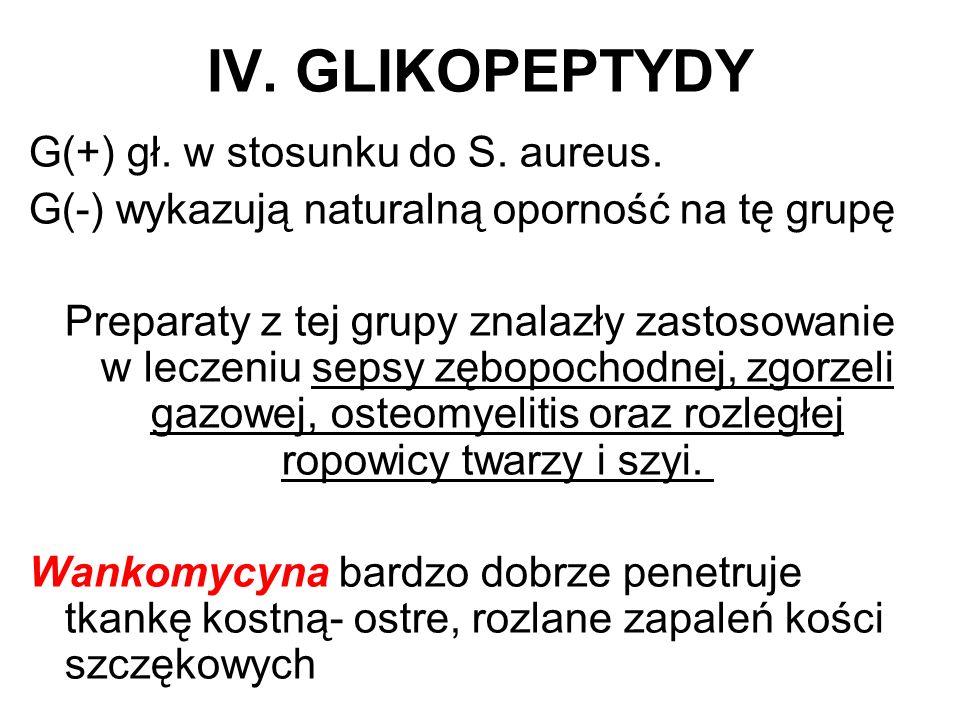IV. GLIKOPEPTYDY G(+) gł. w stosunku do S. aureus. G(-) wykazują naturalną oporność na tę grupę Preparaty z tej grupy znalazły zastosowanie w leczeniu