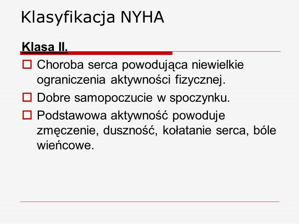Klasyfikacja NYHA Klasa II. Choroba serca powodująca niewielkie ograniczenia aktywności fizycznej. Dobre samopoczucie w spoczynku. Podstawowa aktywnoś
