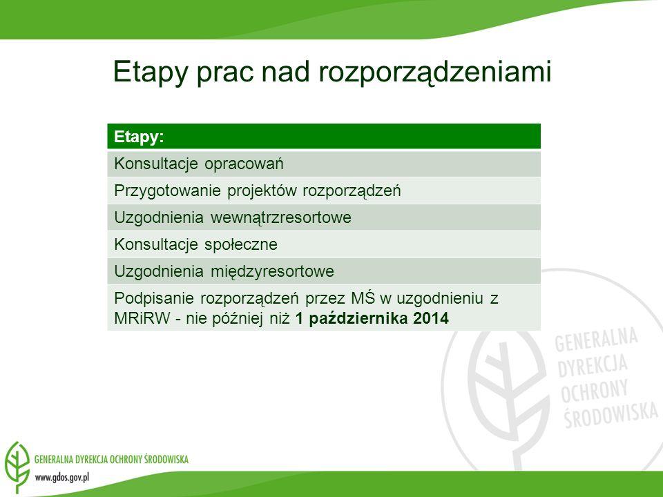 Etapy prac nad rozporządzeniami Etapy: Konsultacje opracowań Przygotowanie projektów rozporządzeń Uzgodnienia wewnątrzresortowe Konsultacje społeczne