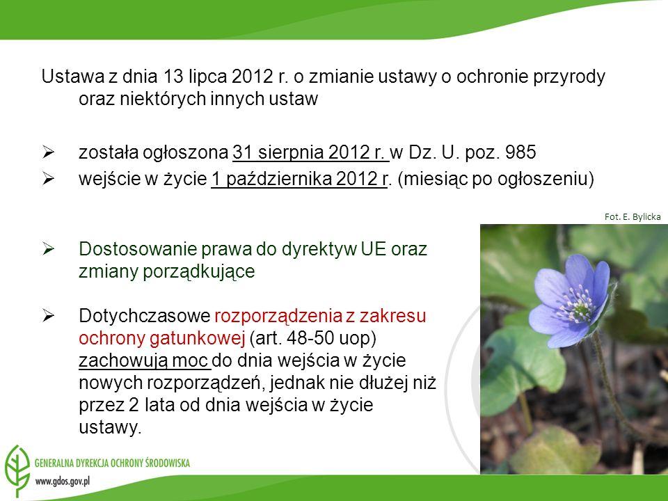 Ustawa z dnia 13 lipca 2012 r. o zmianie ustawy o ochronie przyrody oraz niektórych innych ustaw została ogłoszona 31 sierpnia 2012 r. w Dz. U. poz. 9