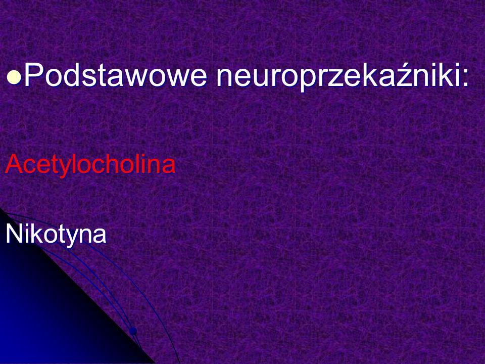 Podstawowe neuroprzekaźniki: Podstawowe neuroprzekaźniki:AcetylocholinaNikotyna
