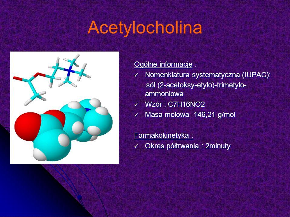 Acetylocholina Ogólne informacje : Nomenklatura systematyczna (IUPAC): Nomenklatura systematyczna (IUPAC): sól (2-acetoksy-etylo)-trimetylo- ammoniowa sól (2-acetoksy-etylo)-trimetylo- ammoniowa Wzór : C7H16NO2 Wzór : C7H16NO2 Masa molowa 146,21 g/mol Masa molowa 146,21 g/mol Farmakokinetyka : Okres półtrwania : 2minuty Okres półtrwania : 2minuty