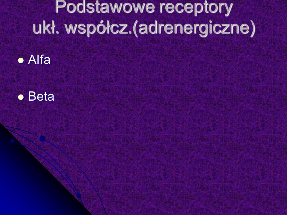 Podstawowe receptory ukł. współcz.(adrenergiczne) Alfa Alfa Beta Beta