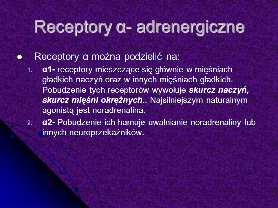 Receptory α- adrenergiczne Receptory α można podzielić na: Receptory α można podzielić na: 1.