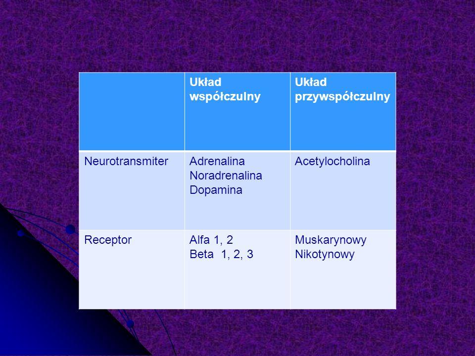 Układ współczulny Układ przywspółczulny NeurotransmiterAdrenalina Noradrenalina Dopamina Acetylocholina ReceptorAlfa 1, 2 Beta 1, 2, 3 Muskarynowy Nikotynowy