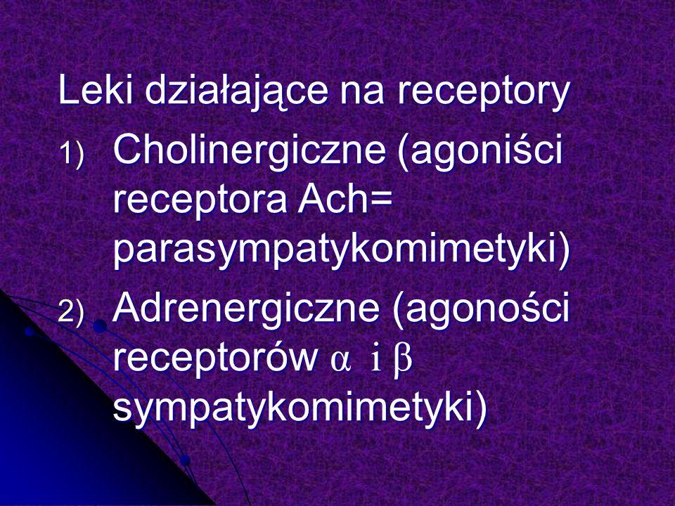 Leki działające na receptory 1) Cholinergiczne (agoniści receptora Ach= parasympatykomimetyki) 2) Adrenergiczne (agoności receptorów α i β sympatykomimetyki)