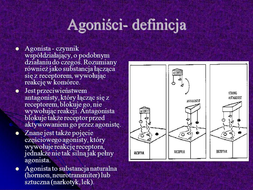 Agoniści- definicja Agonista - czynnik współdziałający, o podobnym działaniu do czegoś.