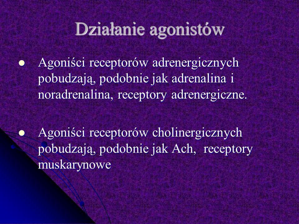 Działanie agonistów Agoniści receptorów adrenergicznych pobudzają, podobnie jak adrenalina i noradrenalina, receptory adrenergiczne.