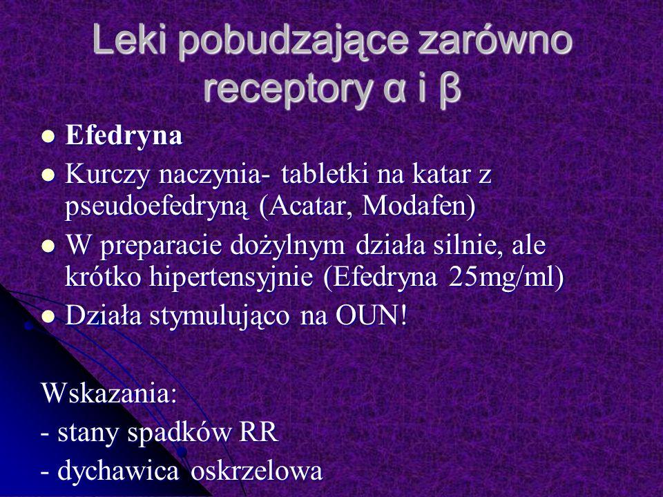Leki pobudzające zarówno receptory α i β Efedryna Efedryna Kurczy naczynia- tabletki na katar z pseudoefedryną (Acatar, Modafen) Kurczy naczynia- tabletki na katar z pseudoefedryną (Acatar, Modafen) W preparacie dożylnym działa silnie, ale krótko hipertensyjnie (Efedryna 25mg/ml) W preparacie dożylnym działa silnie, ale krótko hipertensyjnie (Efedryna 25mg/ml) Działa stymulująco na OUN.