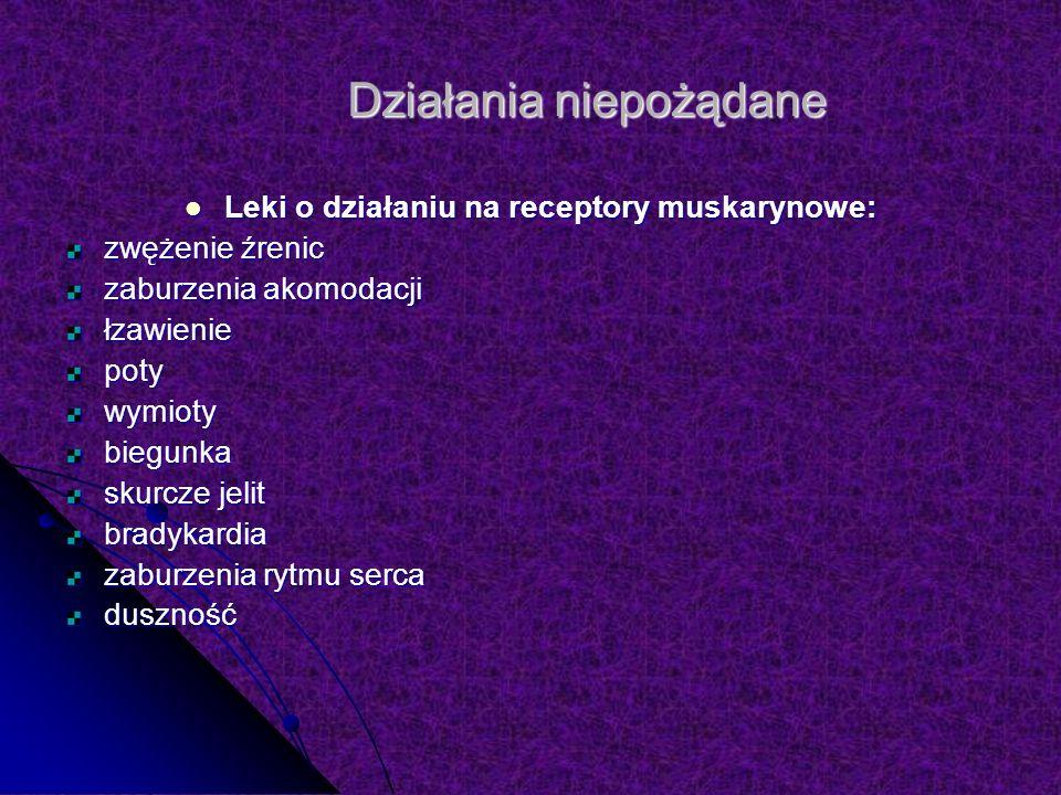 Działania niepożądane Leki o działaniu na receptory muskarynowe: Leki o działaniu na receptory muskarynowe: zwężenie źrenic zaburzenia akomodacji łzawieniepotywymiotybiegunka skurcze jelit bradykardia zaburzenia rytmu serca duszność