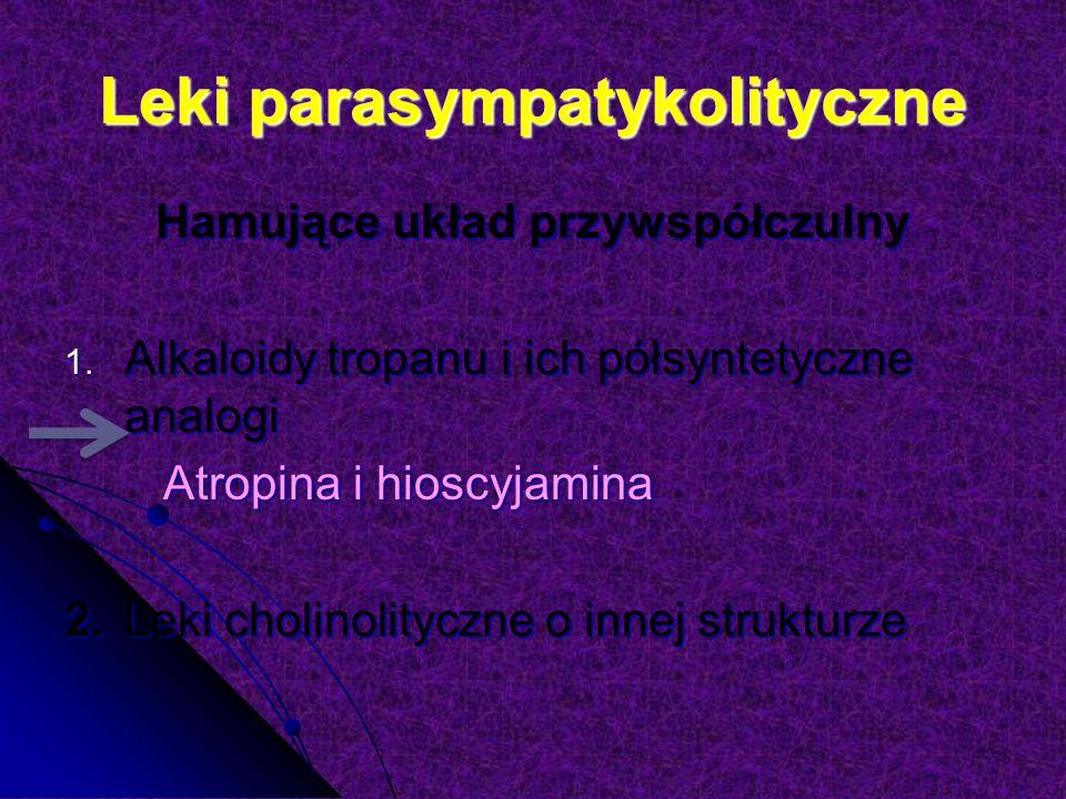Leki parasympatykolityczne Hamujące układ przywspółczulny 1.
