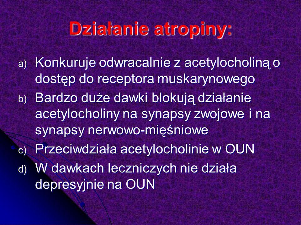 Działanie atropiny: a) Konkuruje odwracalnie z acetylocholiną o dostęp do receptora muskarynowego b) Bardzo duże dawki blokują działanie acetylocholiny na synapsy zwojowe i na synapsy nerwowo-mięśniowe c) Przeciwdziała acetylocholinie w OUN d) W dawkach leczniczych nie działa depresyjnie na OUN