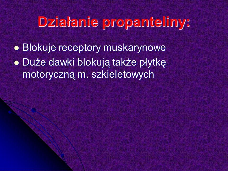 Działanie propanteliny: Blokuje receptory muskarynowe Blokuje receptory muskarynowe Duże dawki blokują także płytkę motoryczną m.
