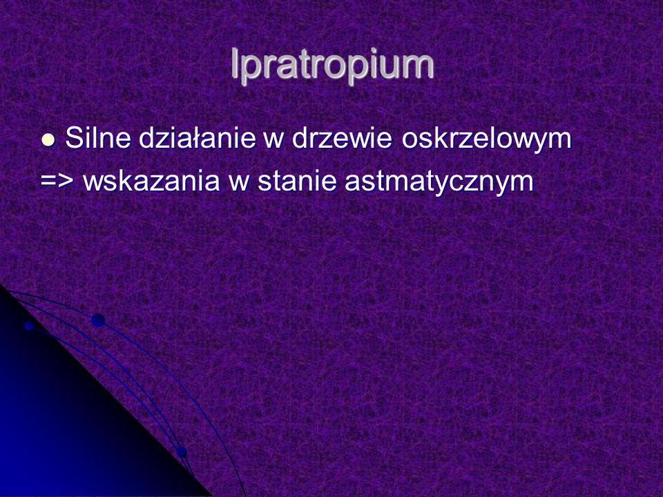 Ipratropium Silne działanie w drzewie oskrzelowym Silne działanie w drzewie oskrzelowym => wskazania w stanie astmatycznym