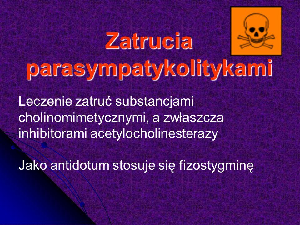 Zatrucia parasympatykolitykami Leczenie zatruć substancjami cholinomimetycznymi, a zwłaszcza inhibitorami acetylocholinesterazy Jako antidotum stosuje się fizostygminę