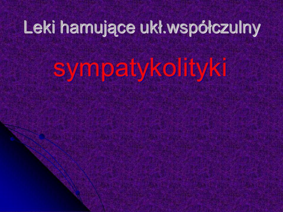 Leki hamujące ukł.współczulny sympatykolityki sympatykolityki