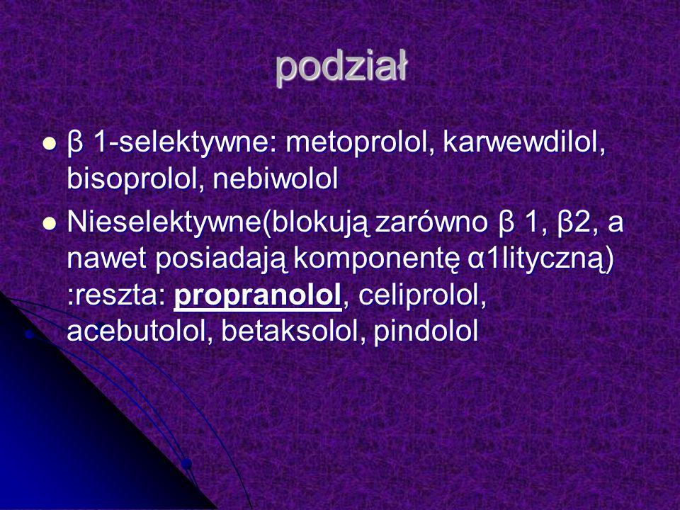 podział β 1-selektywne: metoprolol, karwewdilol, bisoprolol, nebiwolol β 1-selektywne: metoprolol, karwewdilol, bisoprolol, nebiwolol Nieselektywne(blokują zarówno β 1, β2, a nawet posiadają komponentę α1lityczną) :reszta: propranolol, celiprolol, acebutolol, betaksolol, pindolol Nieselektywne(blokują zarówno β 1, β2, a nawet posiadają komponentę α1lityczną) :reszta: propranolol, celiprolol, acebutolol, betaksolol, pindolol