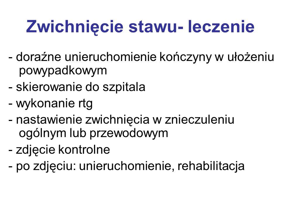 Zwichnięcie stawu- objawy - kończyna w ustawieniu przymusowym - wyczuwalne przemieszczenie powierzchni stawowych - ból - obrzęk - krwiak w stawie - zn