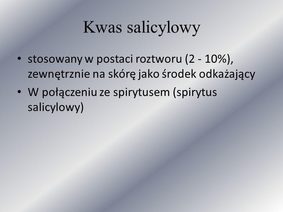 Kwas salicylowy stosowany w postaci roztworu (2 - 10%), zewnętrznie na skórę jako środek odkażający W połączeniu ze spirytusem (spirytus salicylowy)