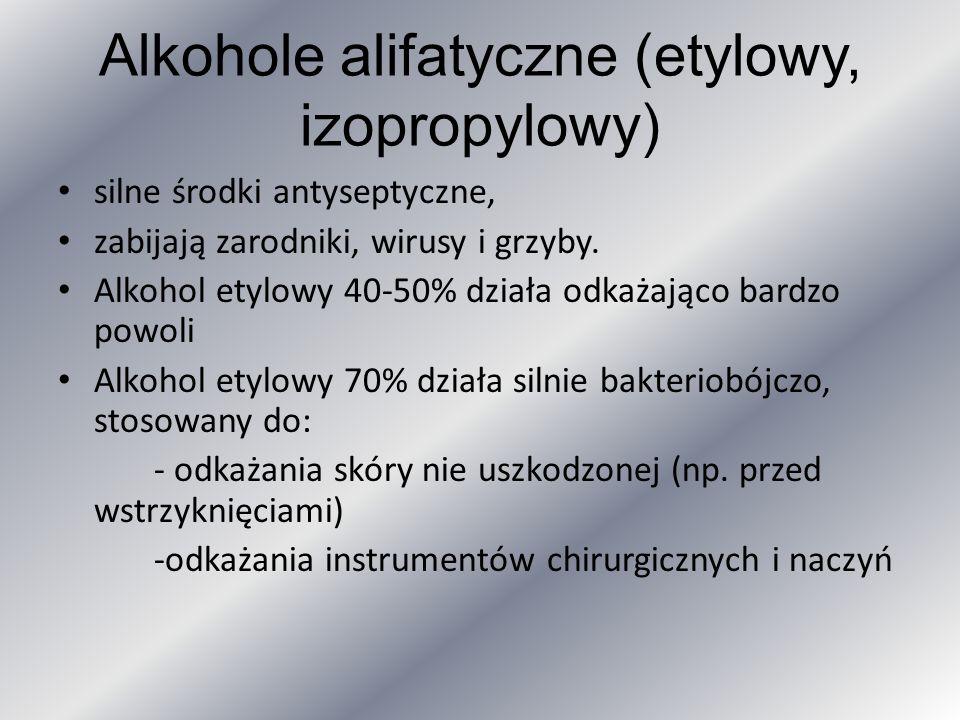 Alkohole alifatyczne (etylowy, izopropylowy) silne środki antyseptyczne, zabijają zarodniki, wirusy i grzyby. Alkohol etylowy 40-50% działa odkażająco