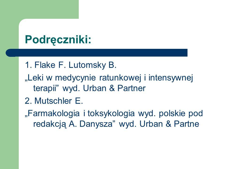 Podręczniki: 1. Flake F. Lutomsky B. Leki w medycynie ratunkowej i intensywnej terapii wyd. Urban & Partner 2. Mutschler E. Farmakologia i toksykologi