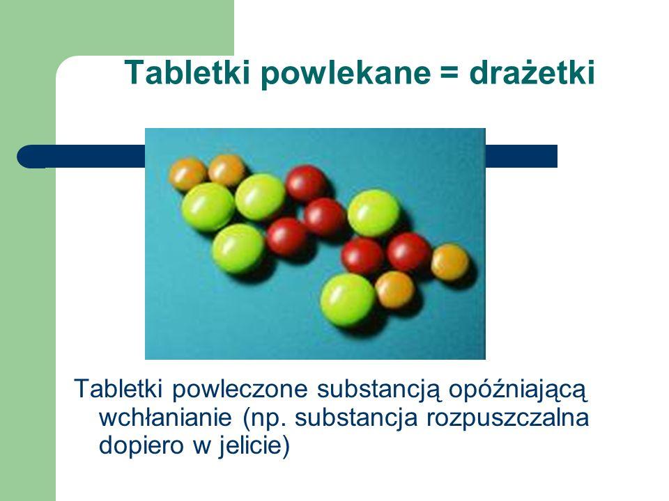 Tabletki powlekane = drażetki Tabletki powleczone substancją opóźniającą wchłanianie (np. substancja rozpuszczalna dopiero w jelicie)