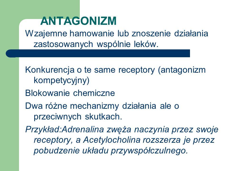 ANTAGONIZM Wzajemne hamowanie lub znoszenie działania zastosowanych wspólnie leków. Konkurencja o te same receptory (antagonizm kompetycyjny) Blokowan