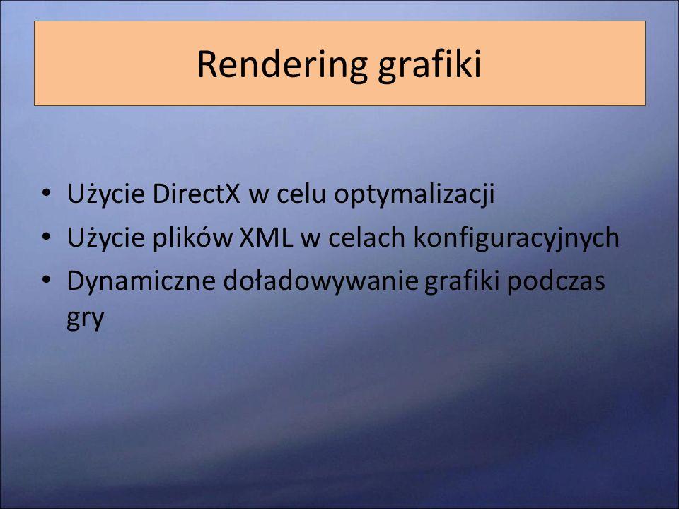Rendering grafiki Użycie DirectX w celu optymalizacji Użycie plików XML w celach konfiguracyjnych Dynamiczne doładowywanie grafiki podczas gry