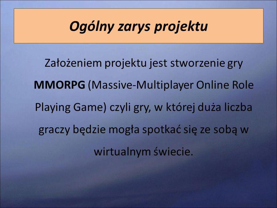 Ogólny zarys projektu Założeniem projektu jest stworzenie gry MMORPG (Massive-Multiplayer Online Role Playing Game) czyli gry, w której duża liczba gr