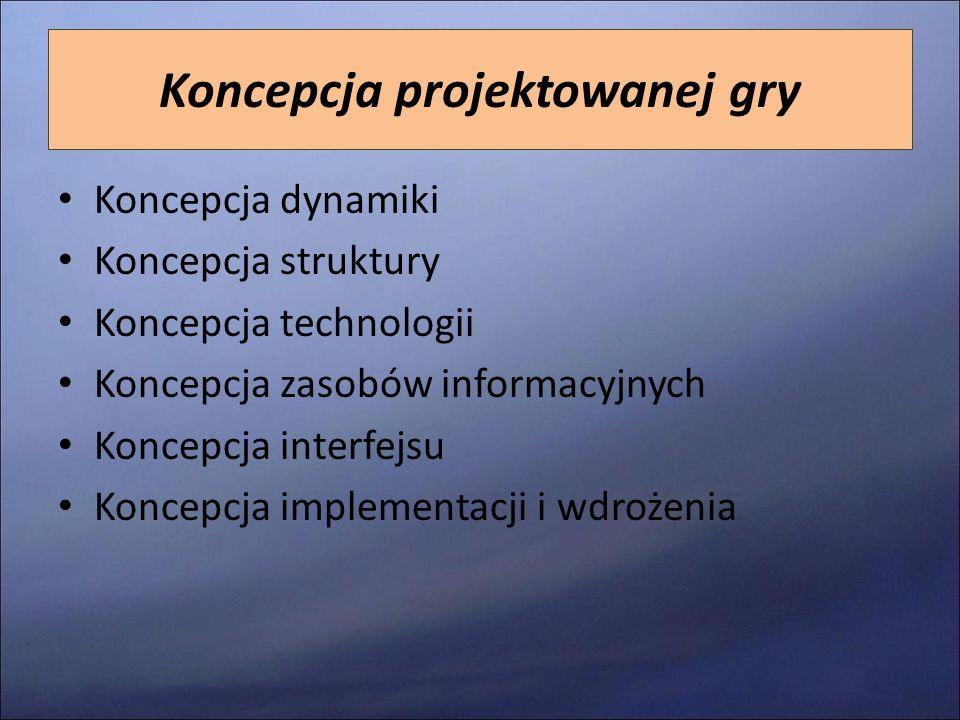 Koncepcja projektowanej gry Koncepcja dynamiki Koncepcja struktury Koncepcja technologii Koncepcja zasobów informacyjnych Koncepcja interfejsu Koncepc