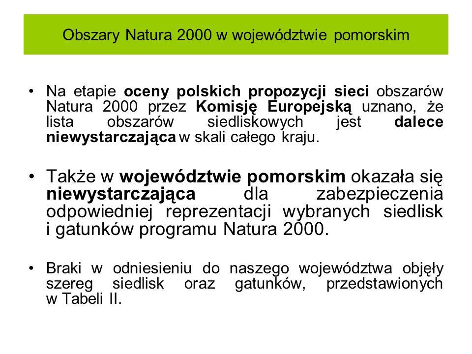 Obszary Natura 2000 w województwie pomorskim Na etapie oceny polskich propozycji sieci obszarów Natura 2000 przez Komisję Europejską uznano, że lista