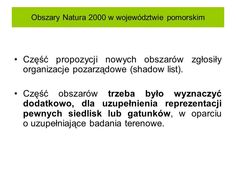 Obszary Natura 2000 w województwie pomorskim Część propozycji nowych obszarów zgłosiły organizacje pozarządowe (shadow list). Część obszarów trzeba by