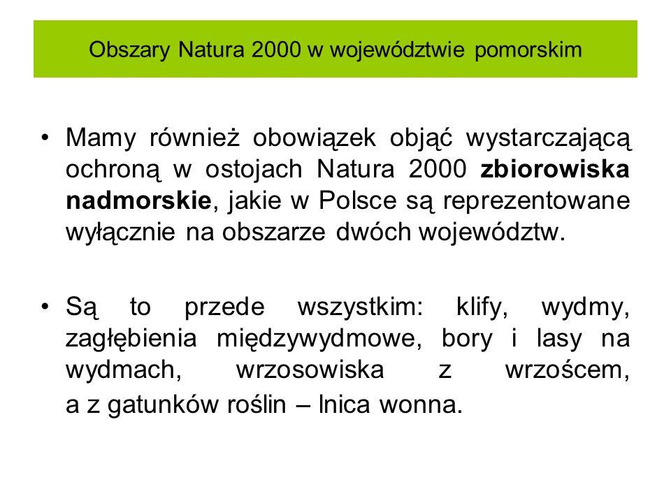 Obszary Natura 2000 w województwie pomorskim Mamy również obowiązek objąć wystarczającą ochroną w ostojach Natura 2000 zbiorowiska nadmorskie, jakie w