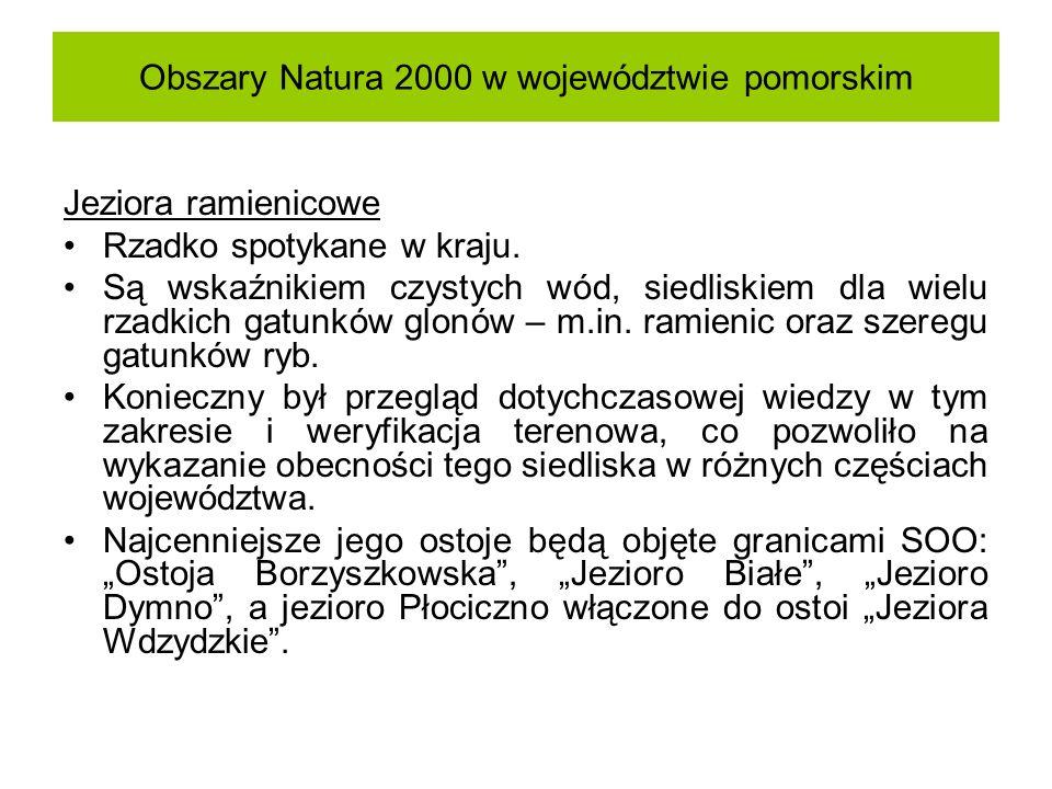 Obszary Natura 2000 w województwie pomorskim Jeziora ramienicowe Rzadko spotykane w kraju. Są wskaźnikiem czystych wód, siedliskiem dla wielu rzadkich