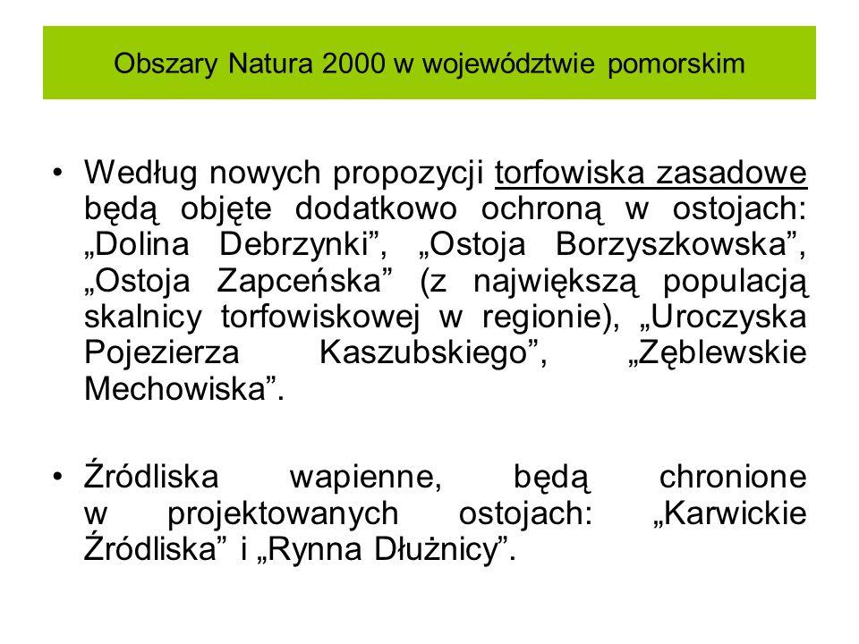 Obszary Natura 2000 w województwie pomorskim Według nowych propozycji torfowiska zasadowe będą objęte dodatkowo ochroną w ostojach: Dolina Debrzynki,