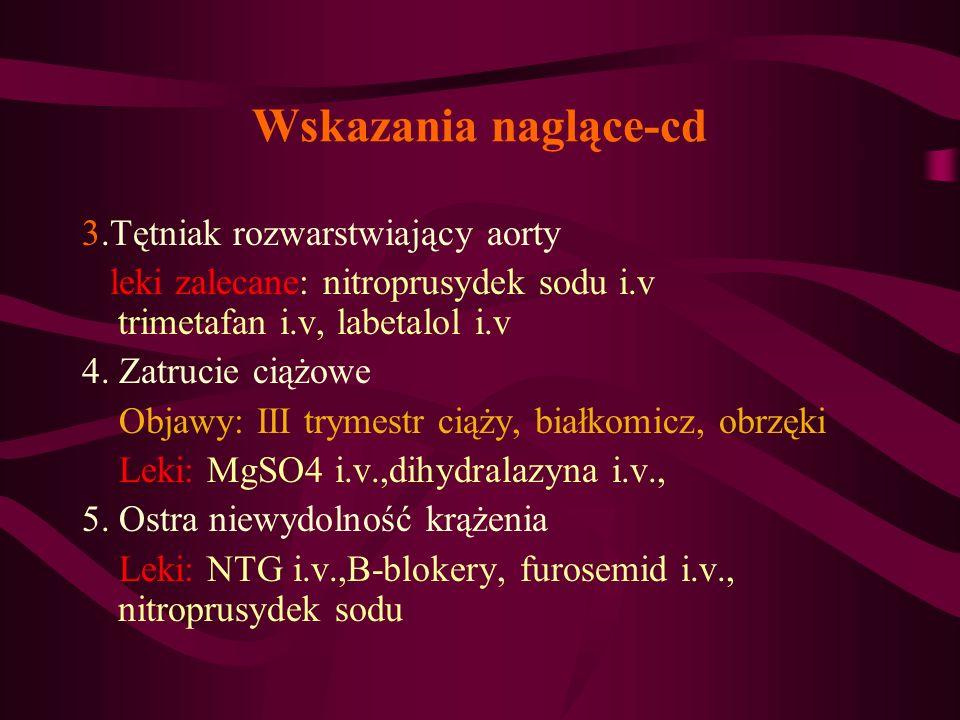 Wskazania naglące-cd 3.Tętniak rozwarstwiający aorty leki zalecane: nitroprusydek sodu i.v trimetafan i.v, labetalol i.v 4. Zatrucie ciążowe Objawy: I