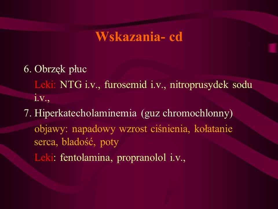 Wskazania- cd 6. Obrzęk płuc Leki: NTG i.v., furosemid i.v., nitroprusydek sodu i.v., 7. Hiperkatecholaminemia (guz chromochlonny) objawy: napadowy wz