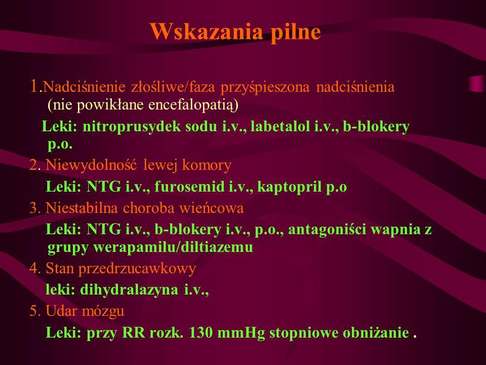 Wskazania pilne 1.Nadciśnienie złośliwe/faza przyśpieszona nadciśnienia (nie powikłane encefalopatią) Leki: nitroprusydek sodu i.v., labetalol i.v., b