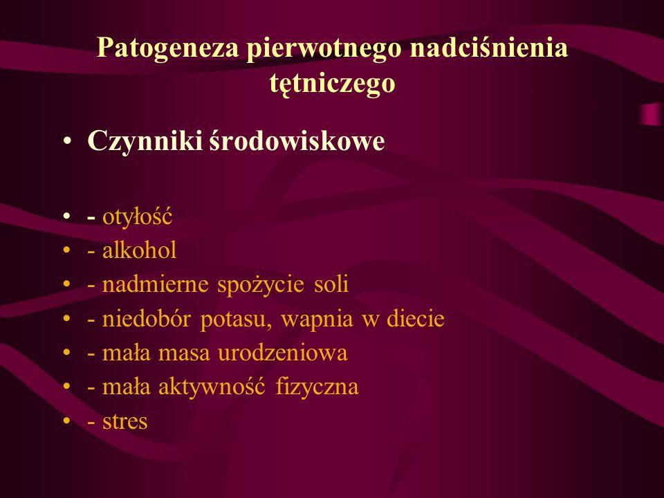 Patogeneza pierwotnego nadciśnienia tętniczego Czynniki środowiskowe - otyłość - alkohol - nadmierne spożycie soli - niedobór potasu, wapnia w diecie